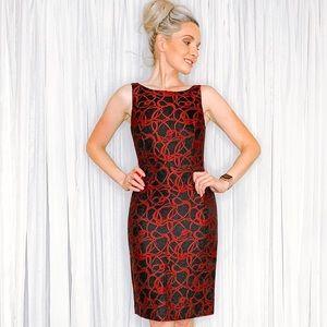 ANTONIO MELANI Dresses - Antonio Melani Red Black Contemporary Work Dress